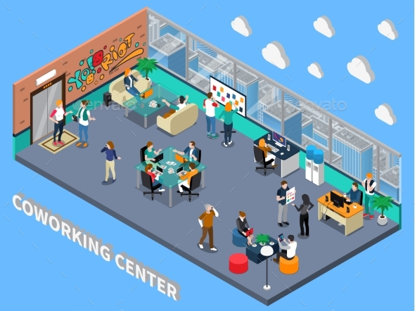 Coworking Center Isometric Interior - Concepts Business