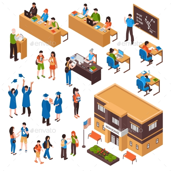Students and Teachers Isometric Set - Miscellaneous Vectors