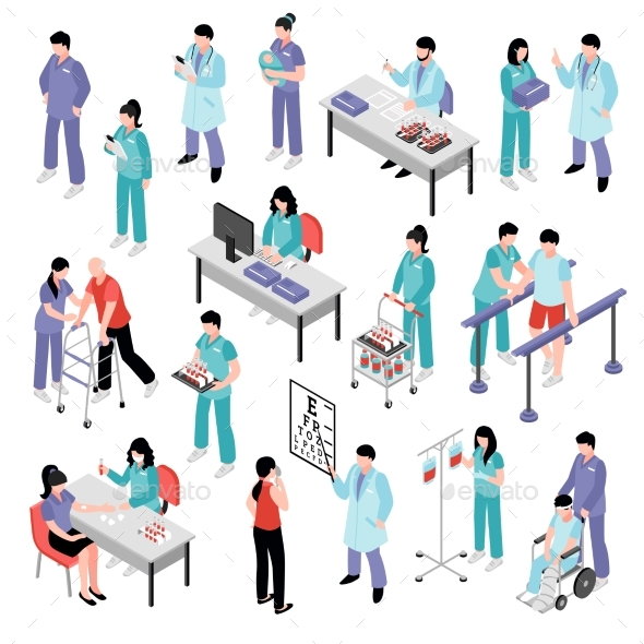 Doctor Nurse Hospital Isometric Set - Health/Medicine Conceptual