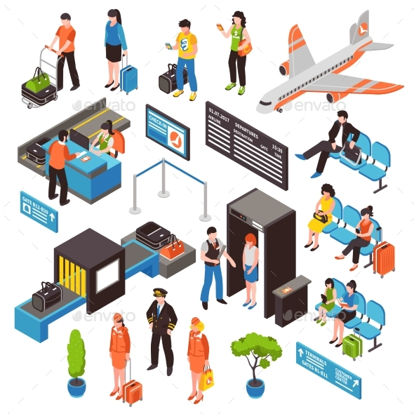 Airport Isometric Icons Set - Travel Conceptual