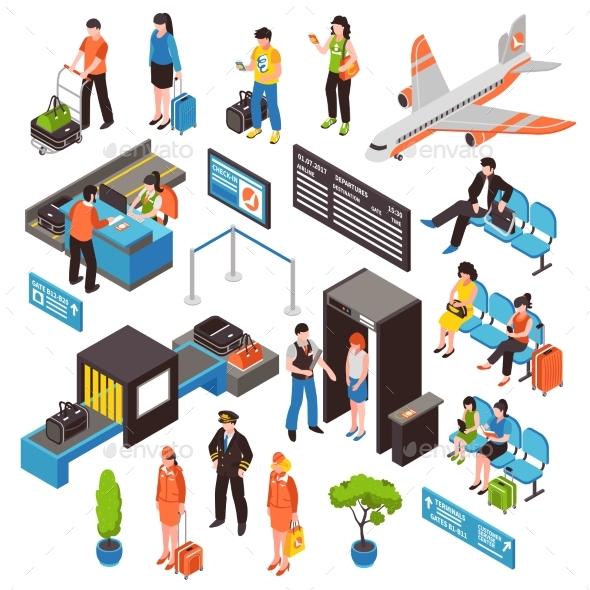GraphicRiver Airport Isometric Icons Set 20439459