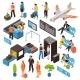 Airport Isometric Icons Set