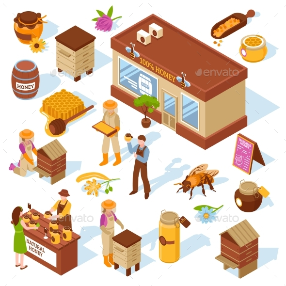 Honey Farm Isometric Icons Set - Industries Business