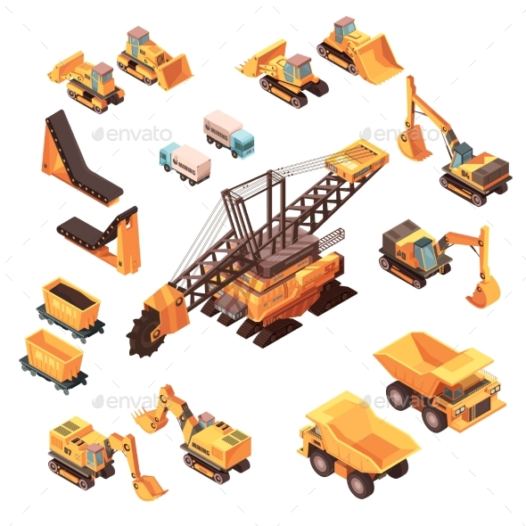 Extraction Equipment Isometric Set - Industries Business