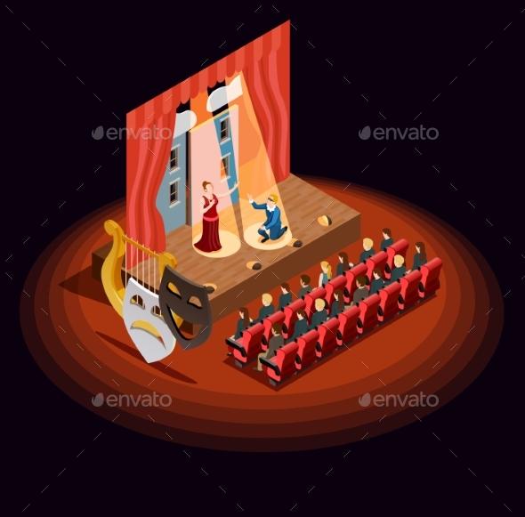 Theatre Auditorium Isometric Composition - Miscellaneous Vectors