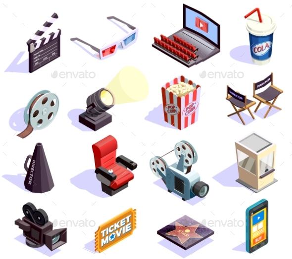 GraphicRiver Cinema Isometric Icons Set 20439473