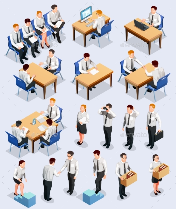 Isometric Employment Interview Collection - Concepts Business