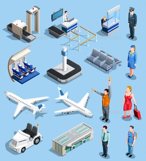 Airport Isometric Elements Set - Travel Conceptual