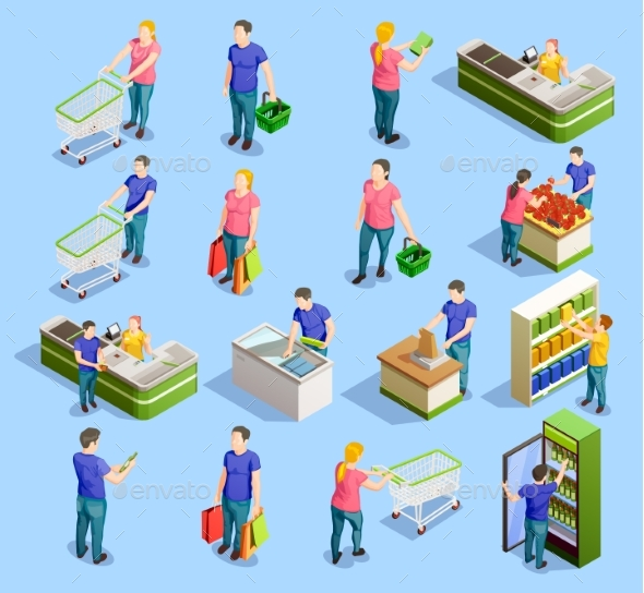 GraphicRiver Supermarket Isometric Elements Collection 20439484