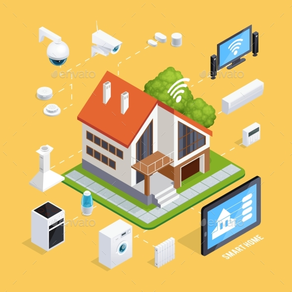 GraphicRiver Smart House Isometric Composition Poster 20439497