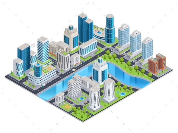 Modern Urban Isometric Landscape - Buildings Objects