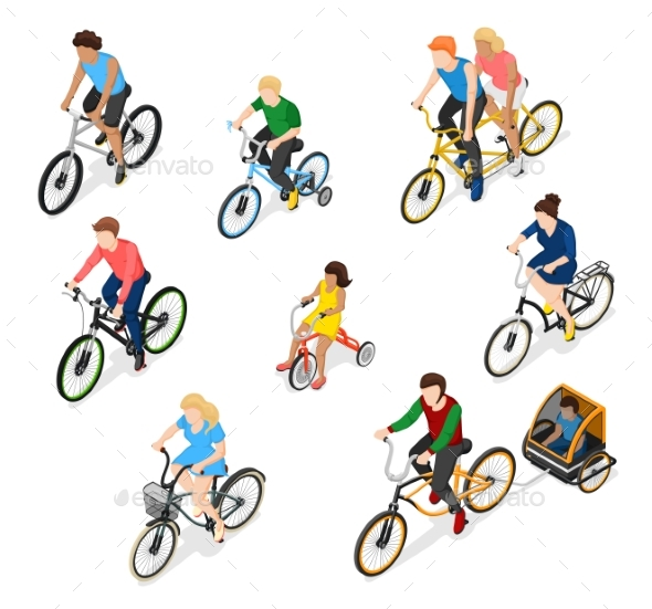 Bike Riders Character Set - People Characters