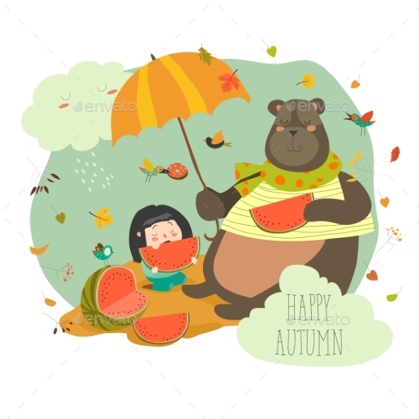 Girl with Bear Eating Watermelon - Miscellaneous Characters