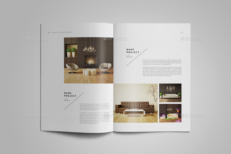 Interior designer portfolio template for Graphic design interior design