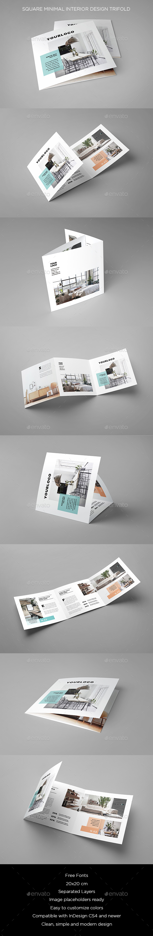 Square Minimal Interior Design Trifold - Brochures Print Templates