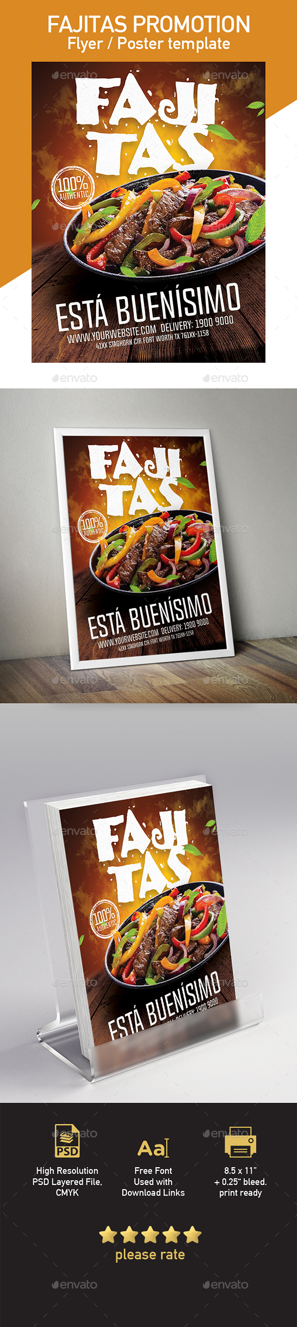 Fajitas Flyer or Poster Template - Restaurant Flyers