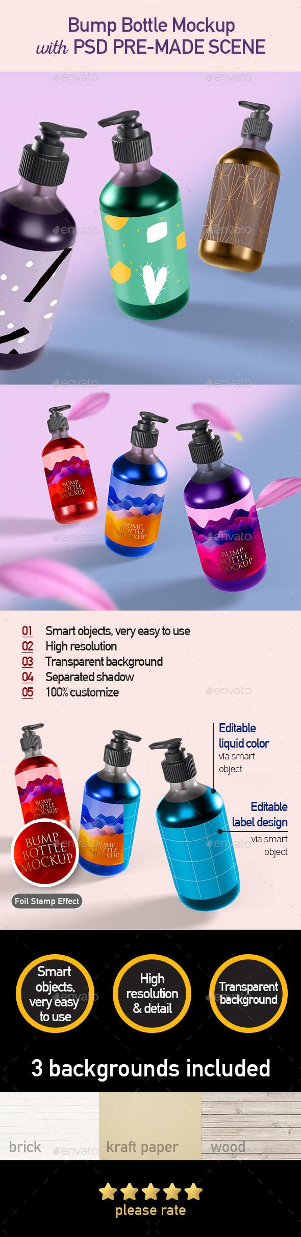 Shampoo Pump Bottle Mockup - Packaging Product Mock-Ups