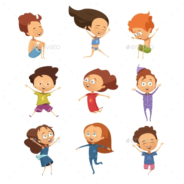 Set of Cartoon Jumping Kids - People Characters