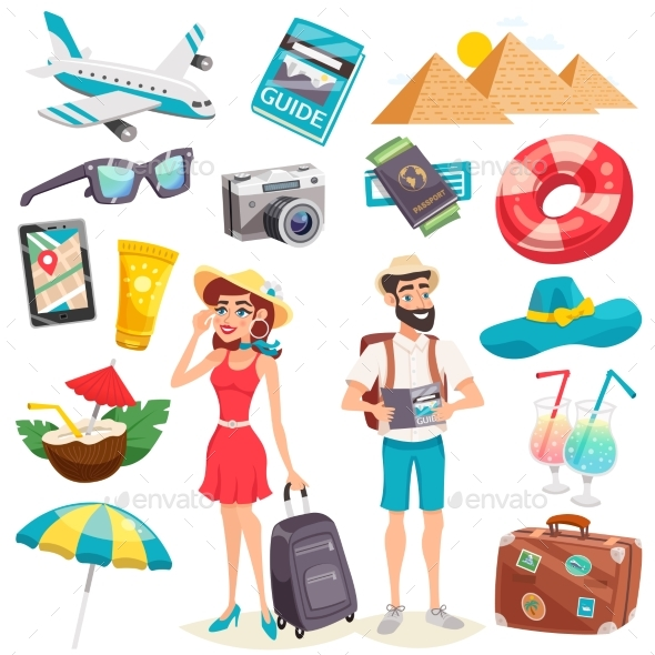 Summer Holiday Icons Set - Travel Conceptual