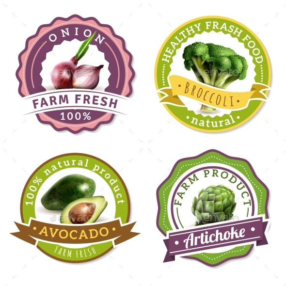 Vegetables Label Set - Food Objects