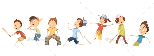Set of Children Characters Playing Baseball - Sports/Activity Conceptual