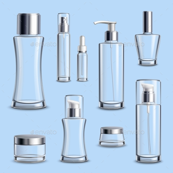 Cosmetics Glass Package Realistic Set - Man-made Objects Objects