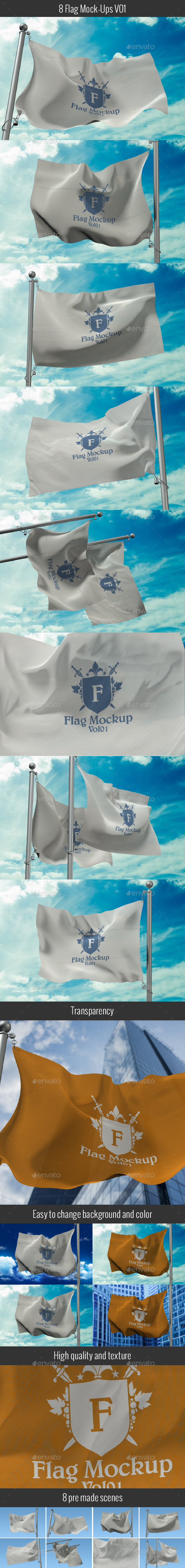 8 Flag Mock Ups - Miscellaneous Print