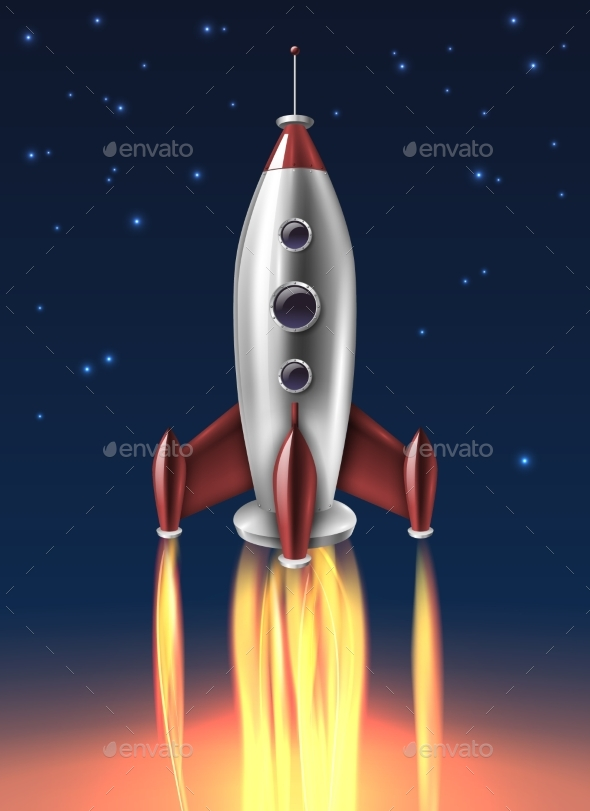 Realistic Metal Rocket Launch Background Poster - Backgrounds Decorative