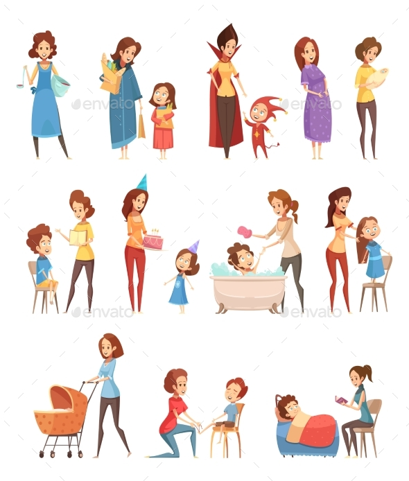 Motherhood Retro Cartoon Icons Set - People Characters