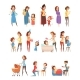Motherhood Retro Cartoon Icons Set