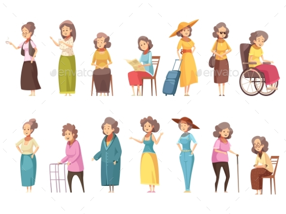 Senior Women Cartoon Icons Set - People Characters