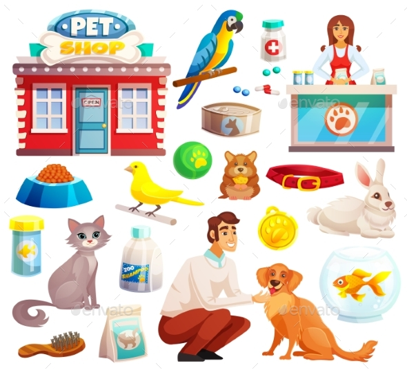 GraphicRiver Pet Shop Decorative Icons Set 20440096