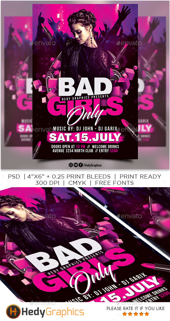 GraphicRiver Bad Girls Only Flyer 20440221