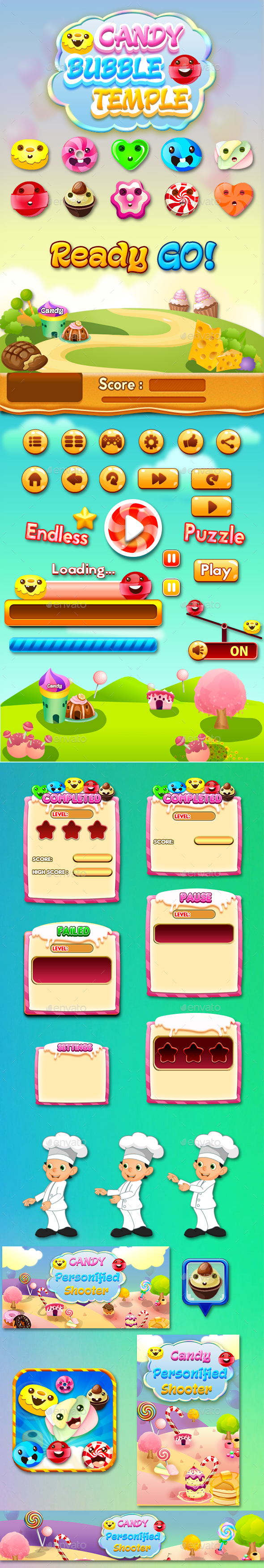 GraphicRiver Bubble Shooter Unity Asset Reskin Candy Bubble Temple 20424619