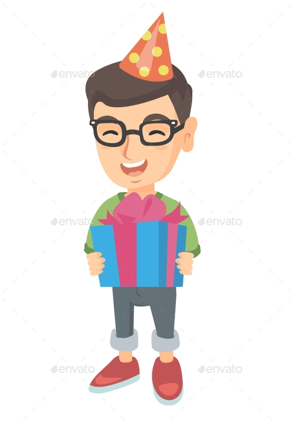 Caucasian Boy in Birthday Cap Holding Gift Box. - People Characters