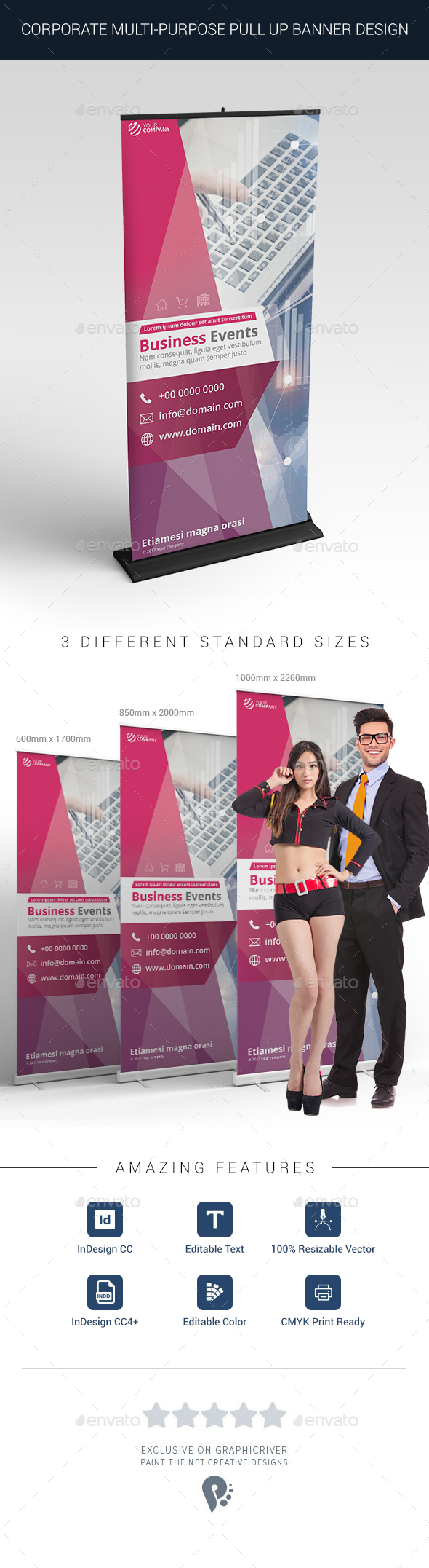 Multi-Purpose Corporate Roll up Banner Design in 3 Standard Sizes - Signage Print Templates