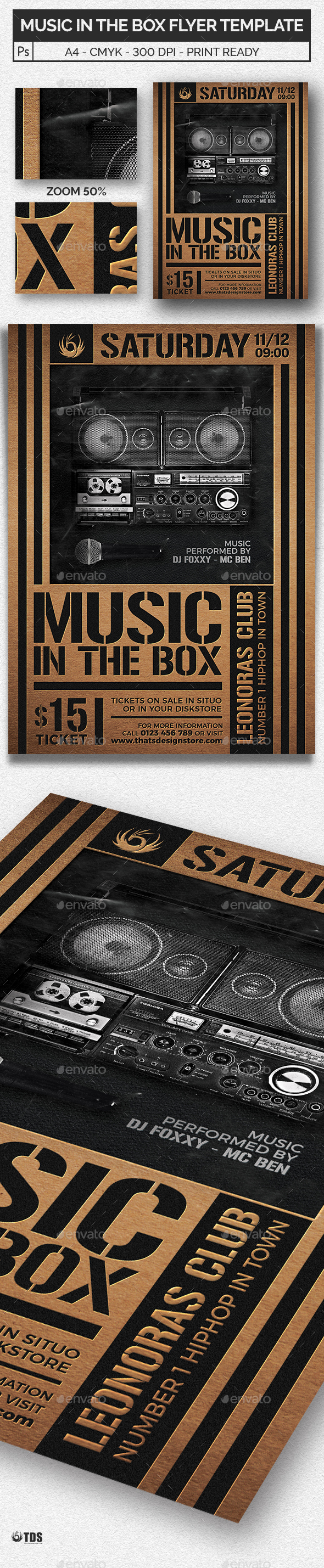 Music in the Box Flyer Template - Clubs & Parties Events