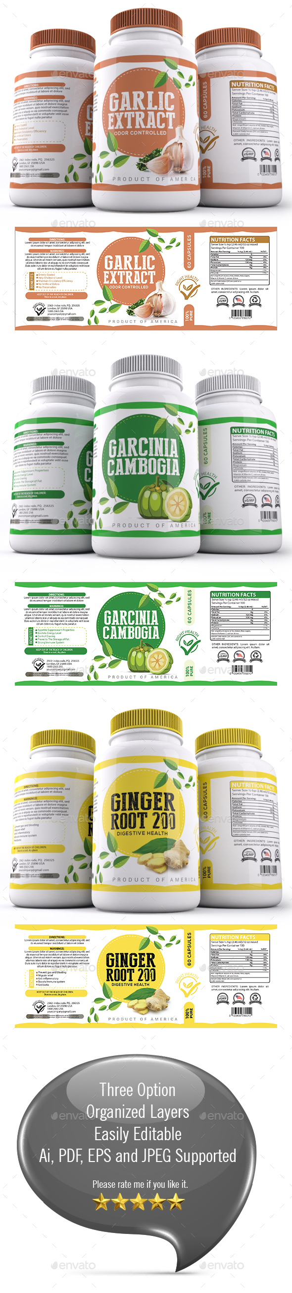 Supplement Label Template - 021 - Packaging Print Templates