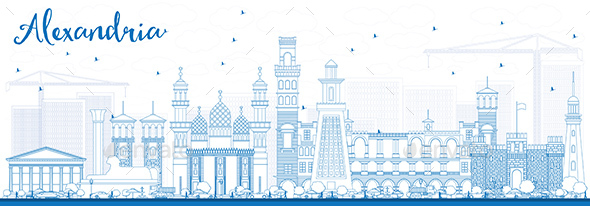 Outline Alexandria Skyline with Blue Buildings. - Buildings Objects