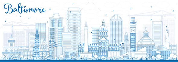 Outline Baltimore Skyline with Blue Buildings. - Buildings Objects