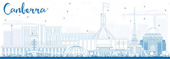 Outline Canberra Skyline with Blue Buildings. - Buildings Objects