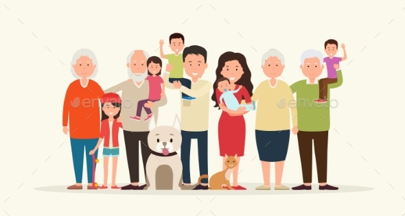 Big Family Together. - People Characters