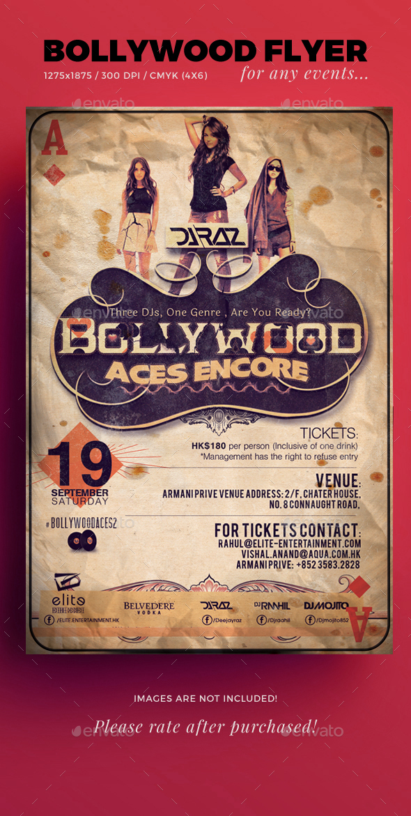 Bollywood Aces Flyer Template v2 - Events Flyers
