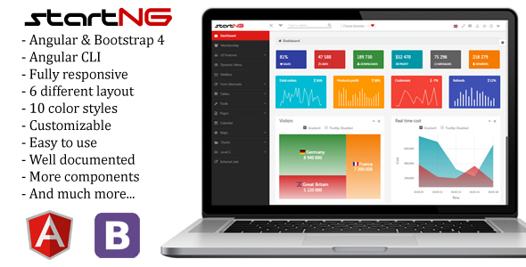 StartNG - Angular 4 Admin Template with Bootstrap 4 - Admin Templates Site Templates