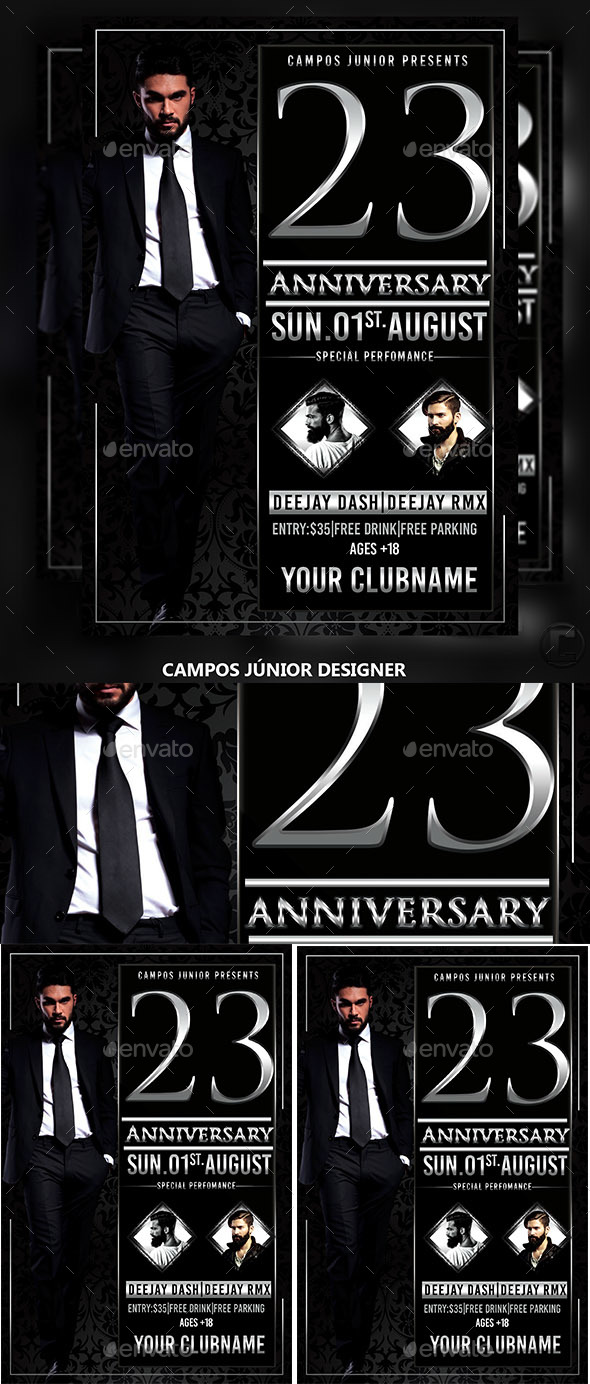 23 Anniversary-Flyer Template - Clubs & Parties Events