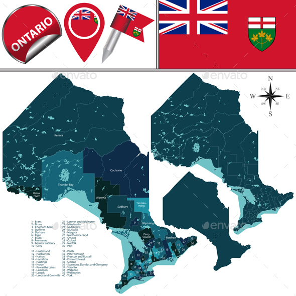 Divisions of Ontario Canada - Travel Conceptual