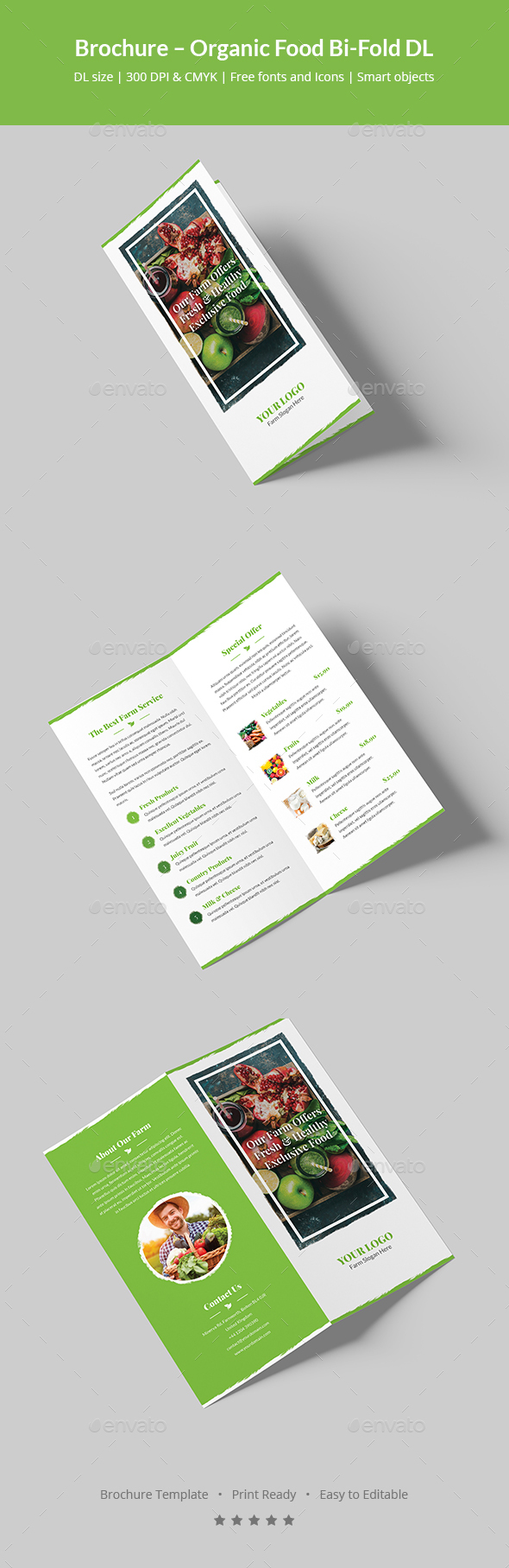 Brochure organic food bi fold dl by artbart graphicriver for Dl brochure template