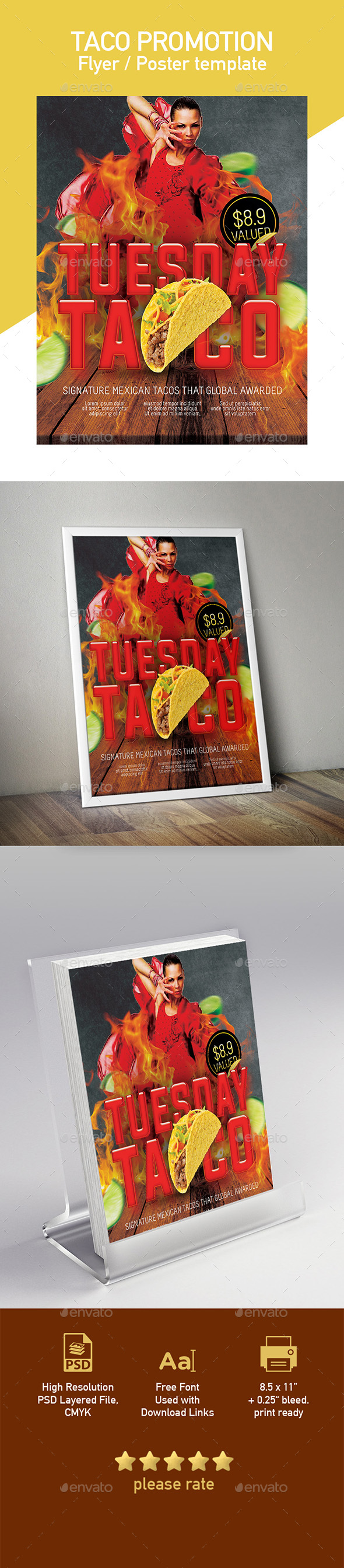 GraphicRiver Tuesday Tacos Flyer Poster Template 20299813