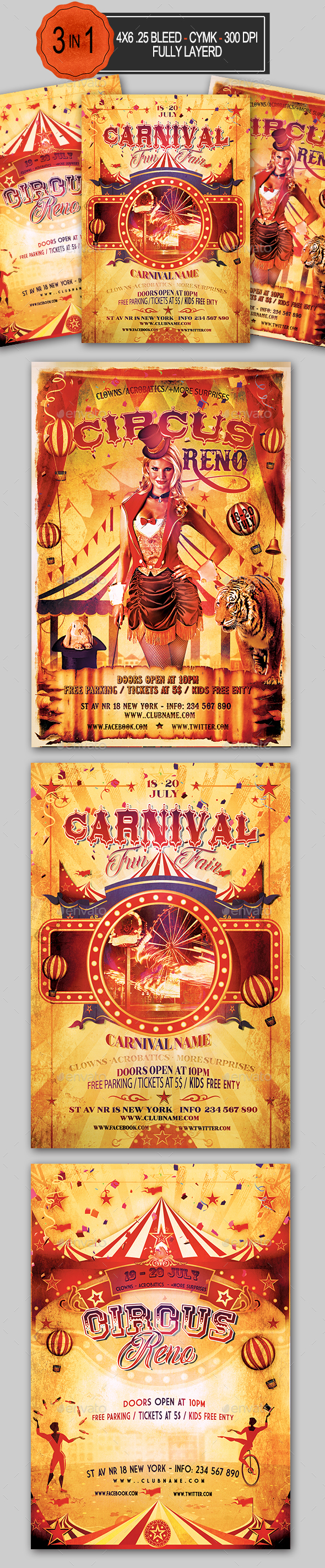 Circus and Carnival Flyer Bundle - Events Flyers