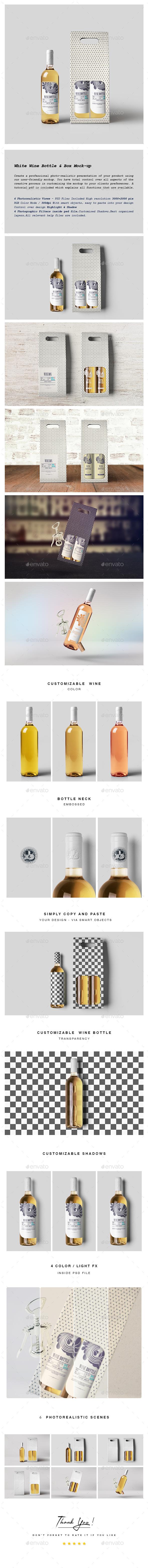 White Wine Bottle and Box Mock-up